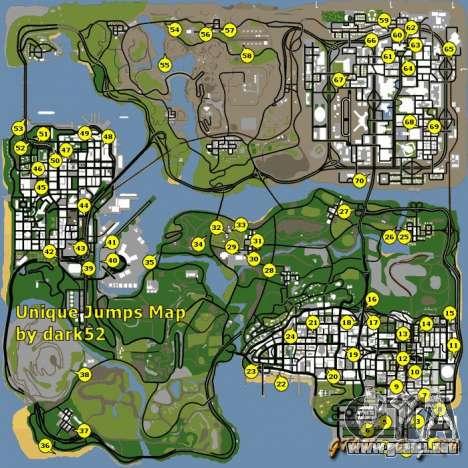 Mapa de saltos únicos en GTA San Andreas