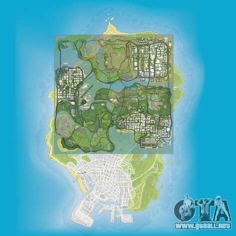una comparación del tamaño de los mapas de GTA 5 y GTA San Andreas