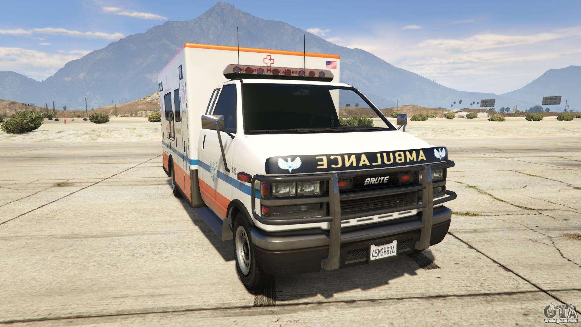 GTA 5 Brute Ambulance Los Santos Medical Center - vista frontal