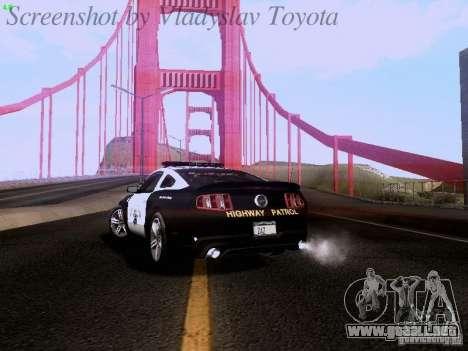 Ford Mustang GT 2011 Police Enforcement para GTA San Andreas vista hacia atrás