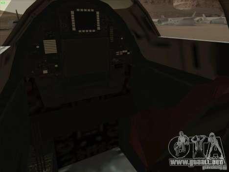 YF-12A para GTA San Andreas interior