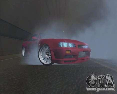 Nissan Skyline BNR34 GT-R para GTA San Andreas vista posterior izquierda