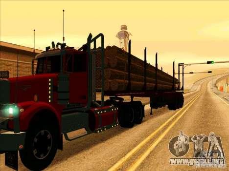 Trailer, Western Star 4900 para GTA San Andreas vista posterior izquierda