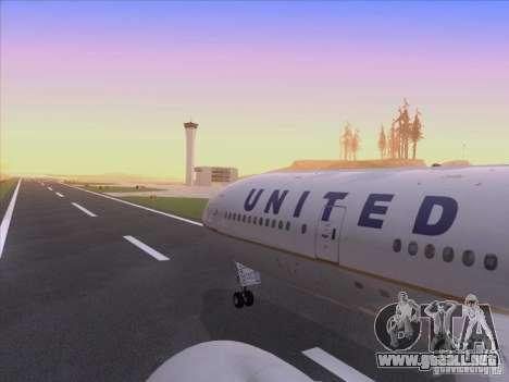 Boeing 777-200 United Airlines para la vista superior GTA San Andreas