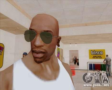 Gafas de sol verdes aviadores para GTA San Andreas segunda pantalla