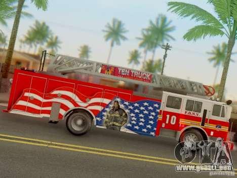 Seagrave FDNY Ladder 10 para GTA San Andreas vista hacia atrás