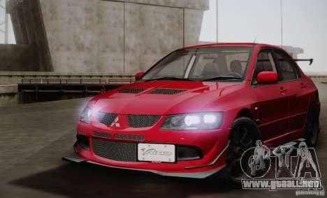Mitsubishi Lancer Evolution VIII MR Edition para GTA San Andreas vista posterior izquierda