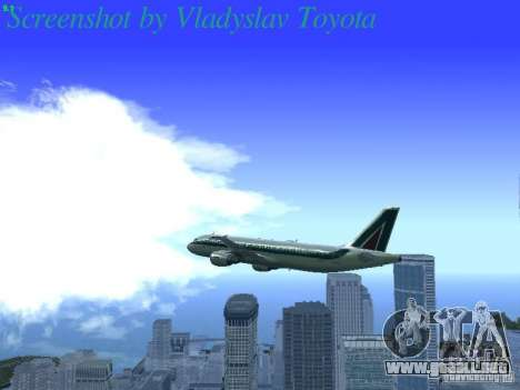 Airbus A320-214 Alitalia v.1.0 para vista inferior GTA San Andreas