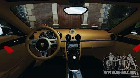 Porsche Cayman R 2012 para GTA 4 vista hacia atrás