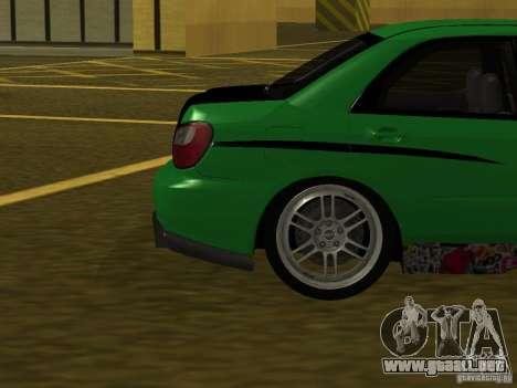 Subaru Impreza WRX para vista lateral GTA San Andreas