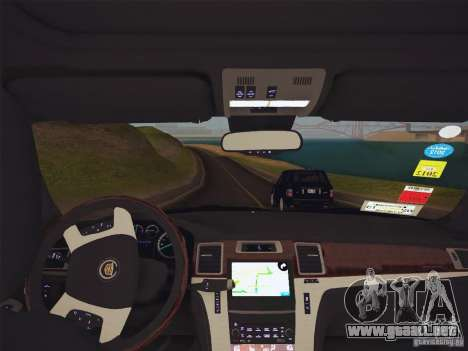 Cadillac Escalade ESV 2012 para GTA San Andreas vista hacia atrás
