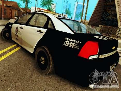 Chevrolet Caprice 2011 Police para GTA San Andreas vista posterior izquierda