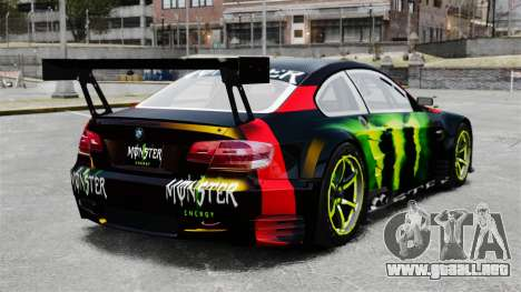 BMW M3 (E90) 2008 Monster Energy v1.2 para GTA 4 Vista posterior izquierda