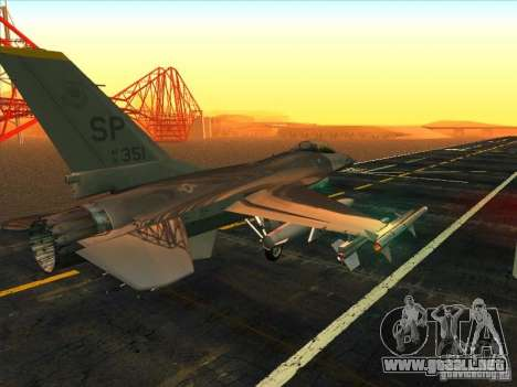 F-16C Fighting Falcon para la visión correcta GTA San Andreas