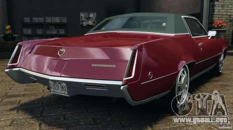 Cadillac Eldorado 1968 para GTA 4 Vista posterior izquierda