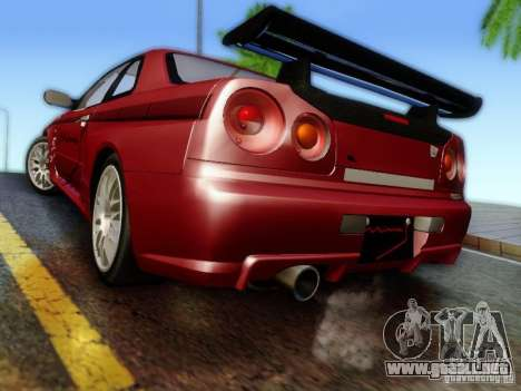 Nissan R34 Skyline GT-R para GTA San Andreas left