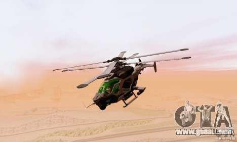 Helicóptero AH-2 Сrysis 50 C.E.L.L. para GTA San Andreas vista hacia atrás