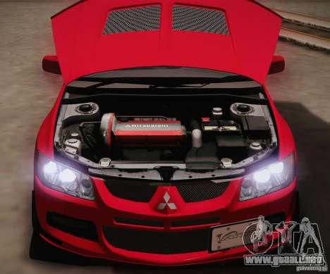 Mitsubishi Lancer Evolution VIII MR Edition para visión interna GTA San Andreas