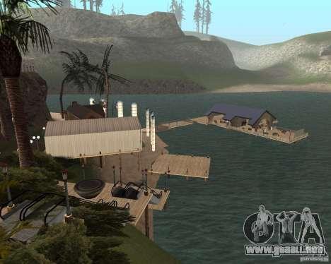 Villa en la Laguna de pesca para GTA San Andreas sucesivamente de pantalla