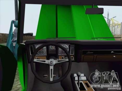 Chevrolet Camaro 1969 para visión interna GTA San Andreas