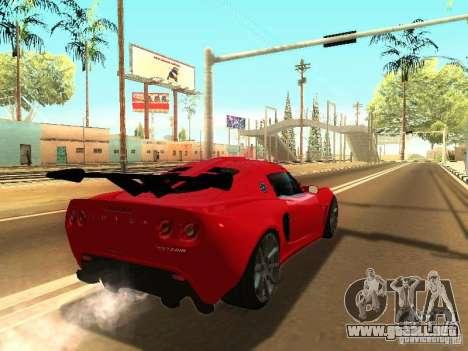 Lotus Exige 240R para GTA San Andreas vista posterior izquierda