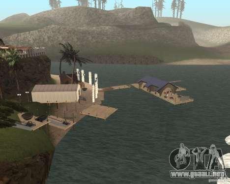 Villa en la Laguna de pesca para GTA San Andreas segunda pantalla