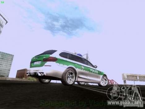 BMW M5 Touring Polizei para GTA San Andreas vista hacia atrás