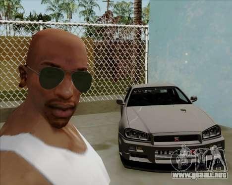Gafas de sol verdes aviadores para GTA San Andreas sucesivamente de pantalla