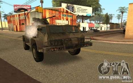 GAS-3937 Vodnik para GTA San Andreas vista hacia atrás
