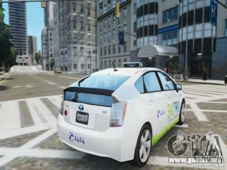 Toyota Prius EKO TAXI (Hrvatski taxi) para GTA 4 Vista posterior izquierda