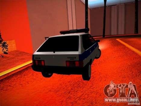 Policía Vaz 2109 para GTA San Andreas vista posterior izquierda