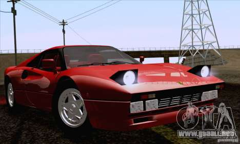 Ferrari 288 GTO 1984 para GTA San Andreas vista posterior izquierda