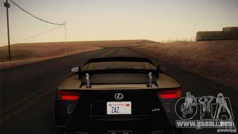 Lexus LFA (US-Spec) 2011 para GTA San Andreas vista posterior izquierda