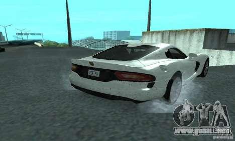 Dodge SRT Viper GTS 2013 para GTA San Andreas vista posterior izquierda