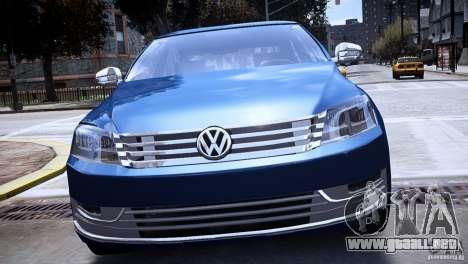 VW Passat B7 TDI Blue Motion para GTA 4 visión correcta