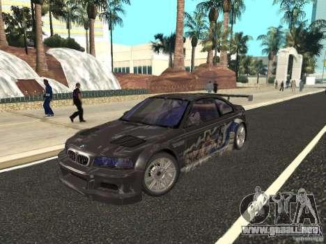 BMW M3 GTR de NFS Most Wanted para vista lateral GTA San Andreas