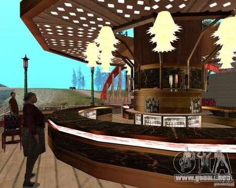 Villa en la Laguna de pesca para GTA San Andreas décimo de pantalla