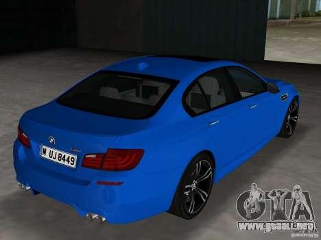 BMW M5 F10 2012 para GTA Vice City visión correcta