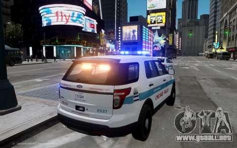 Ford Explorer Chicago Police 2013 para GTA 4 Vista posterior izquierda