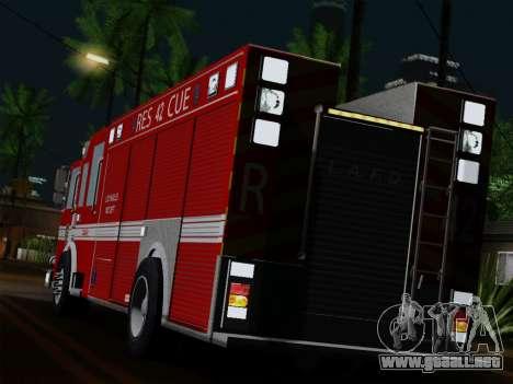 Pierce Contender LAFD Rescue 42 para GTA San Andreas vista posterior izquierda