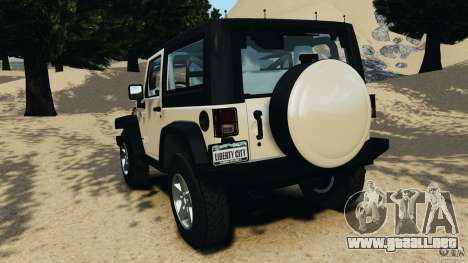 Jeep Wrangler Rubicon 2012 para GTA 4 Vista posterior izquierda
