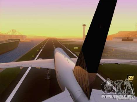 Boeing 777-200 United Airlines para vista lateral GTA San Andreas