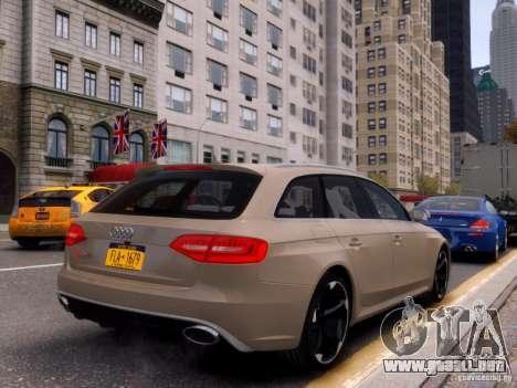 Audi RS4 Avant 2013 para GTA 4 vista hacia atrás