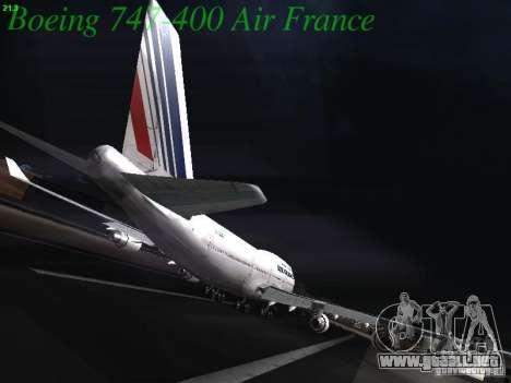 Boeing 747-400 Air France para GTA San Andreas vista hacia atrás