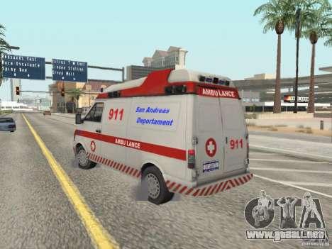 Ford Transit Ambulance para GTA San Andreas vista posterior izquierda