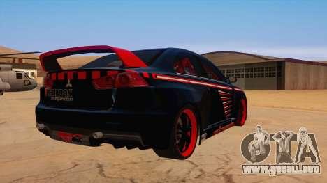 Mitsubishi Lancer Evolution X Pro Street para la visión correcta GTA San Andreas
