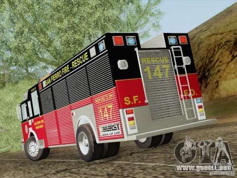 Pierce SFFD Rescue para la vista superior GTA San Andreas