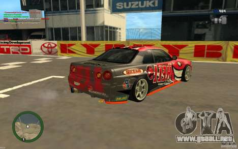 Nissan Skyline R34 Hell Energy para GTA San Andreas left