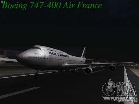 Boeing 747-400 Air France para GTA San Andreas vista posterior izquierda