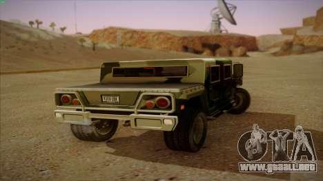 HD Patriot para GTA San Andreas vista posterior izquierda